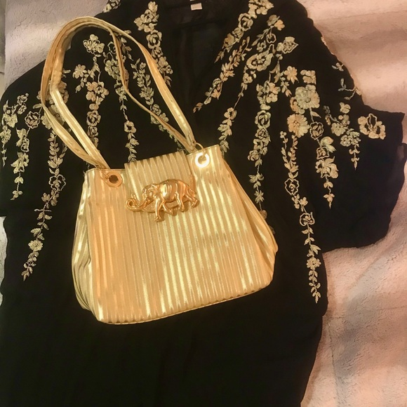 Vintage Gold Shoulder Bag with Elephant Detail